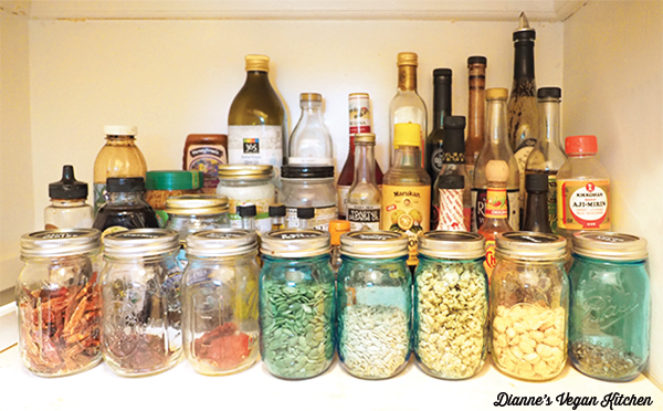 Pantry, bottles and jars