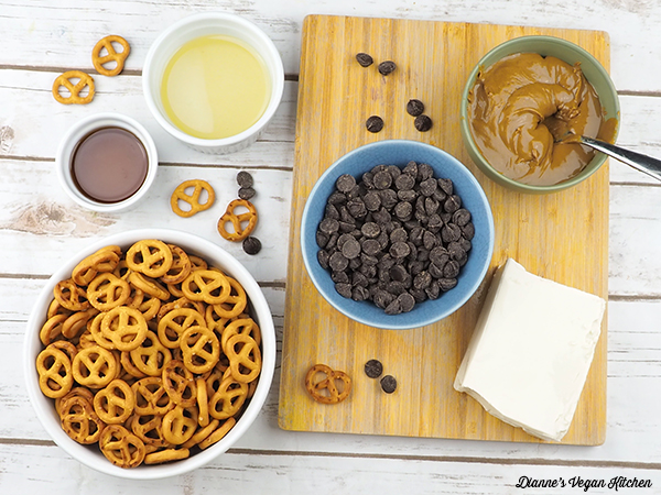 chocolate chips, pretzels, and sunbutter