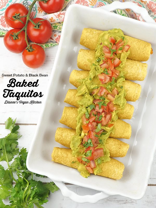 Sweet Potato & Black Bean Baked Taquitos from Go Dairy Free by Alisa Fleming with text overlay