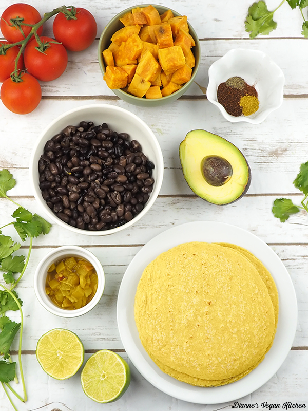 Sweet Potato & Black Bean Baked Taquitos from Go Dairy Free by Alisa Fleming ingredients