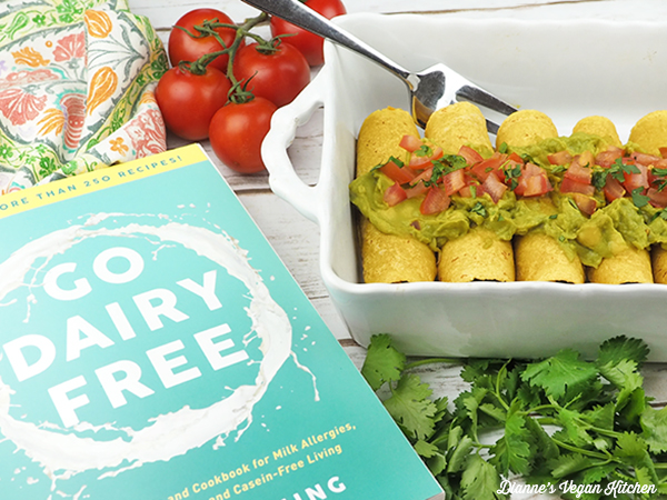 Sweet Potato & Black Bean Baked Taquitos from Go Dairy Free by Alisa Fleming with the book