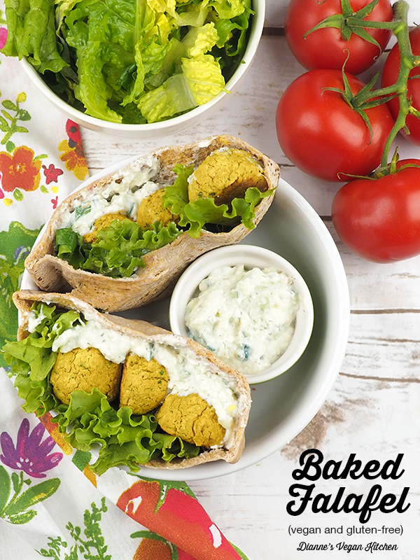 Baked Falafel from The China Study Cookbook by LeAnne Campbell with text overlay
