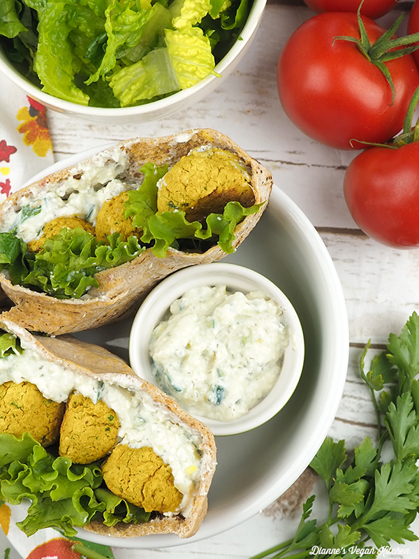 Baked Falafels from above with cucumber dill dip