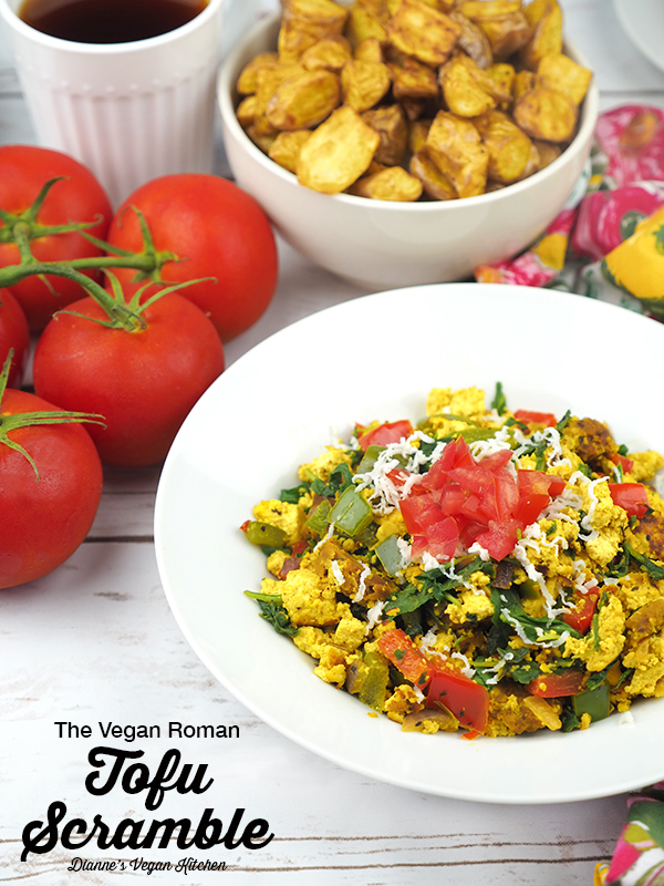 The Vegan Roman Tofu Scramble is the ultimate breakfast dish! It's great for brinner, too! It's dairy-free with a gluten-free option #vegan #tofuscramble #veganbrunch #veganbreakfast