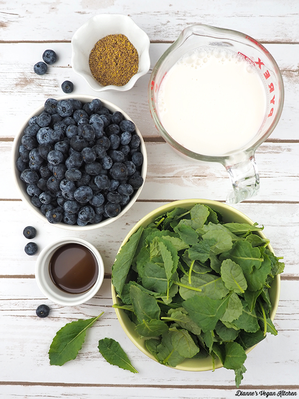 Vegan Vanilla Blueberry Smoothie Ingredients