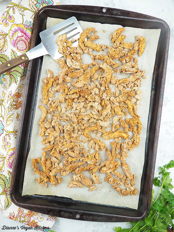 Spanish style soy curls on baking sheet