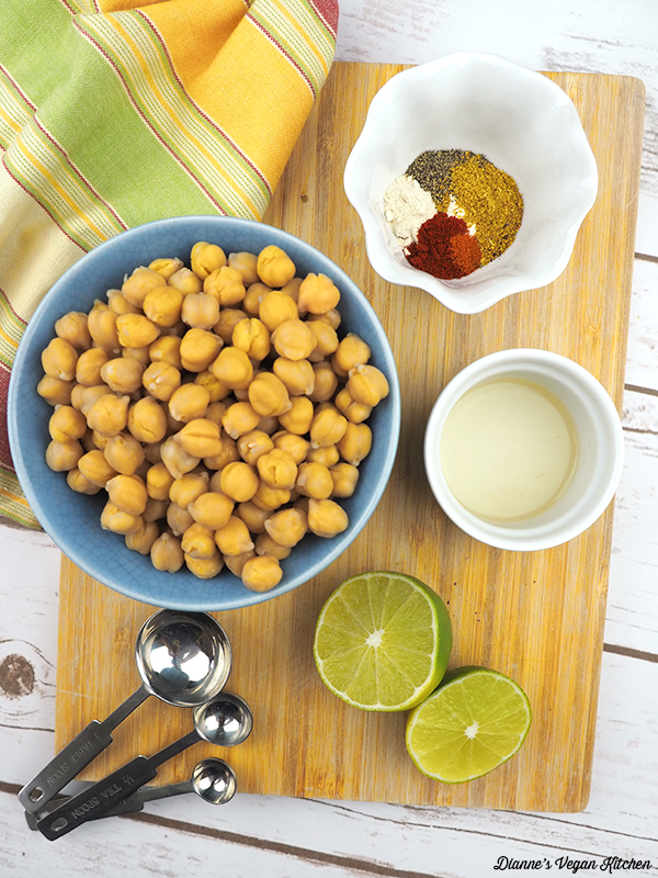 chickpeas, spices, limes