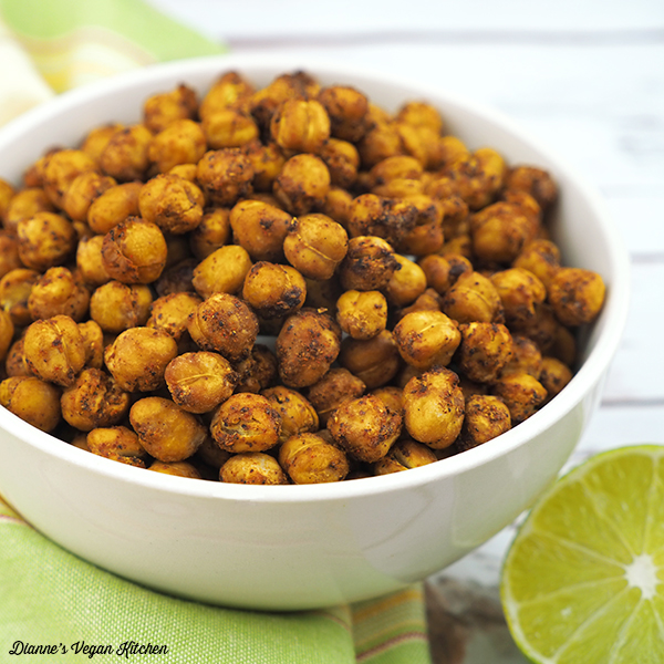 Spicy Chili Lime Roasted Chickpeas in bowl square
