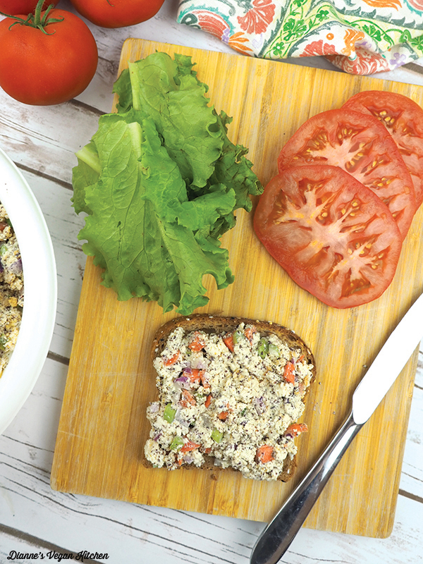 Making Vegan Tofu Tuna Salad Sandwiches