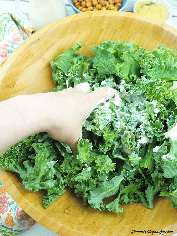 Massaging Kale for Kale Caesar Salad with Roasted Chickpeas