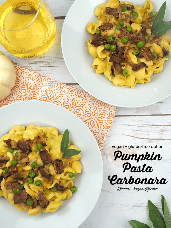 Creamy Vegan Pumpkin Pasta Carbonara overhead shot with text overlay
