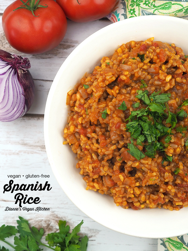 Vegan Spanish Rice in bowl with text overlay