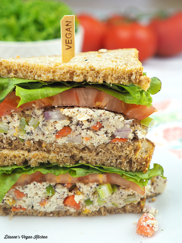 Vegan Tofu Tuna Salad Sandwiches cut and stacked