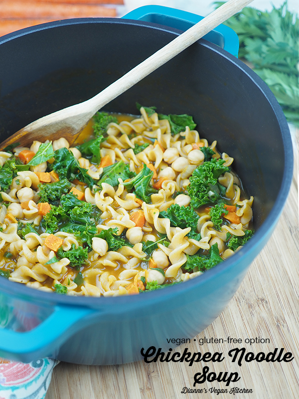 Vegan Chickpea Noodle Soup in pot with text overlay