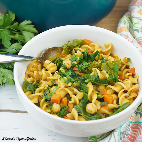Chickpea Noodle Soup in bowl square