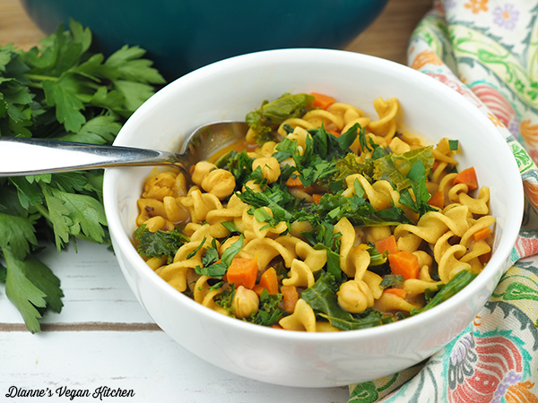 Chickpea Noodle Soup in bowl horizontal