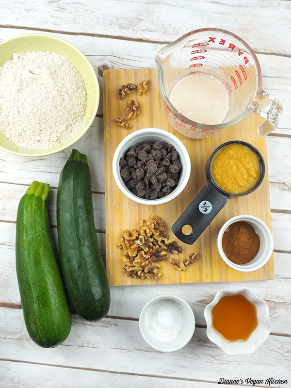 Vegan Chocolate Chip Zucchini Bread ingredients