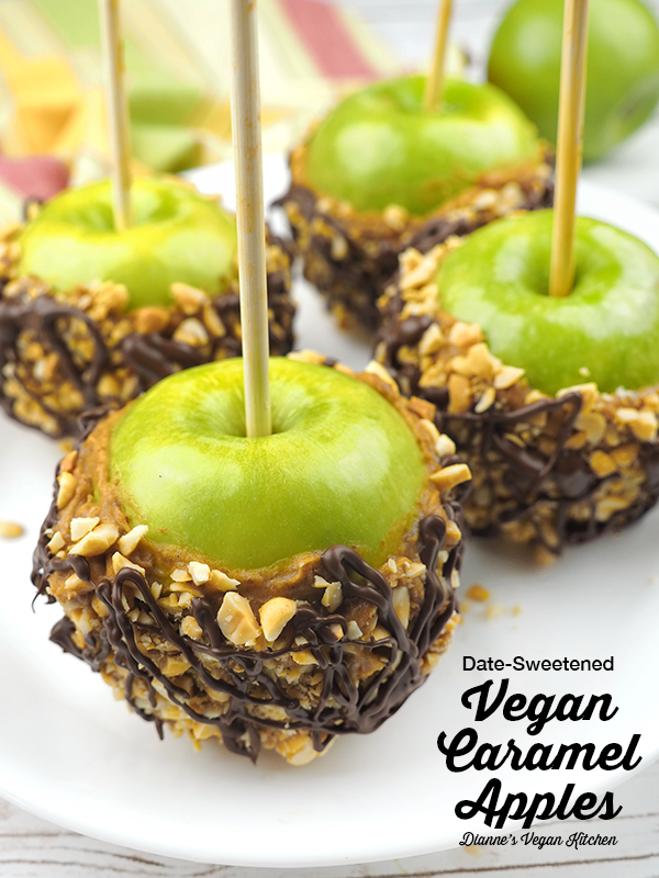 Vegan Caramel Apples with text overlay