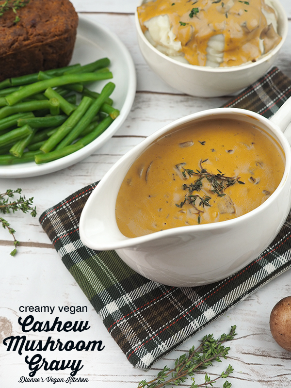 Pour this Creamy Vegan Cashew Mushroom Gravy over everything on your plate! It's perfect for Thanksgiving or Christmas dinner. (vegan & gluten-free) >> Dianne's Vegan Kitchen #vegan #glutenfree #thanksgiving #christmas #gravy