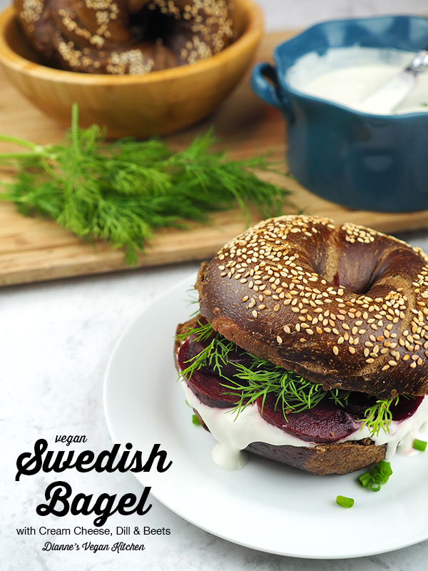 This Swedish Bagel with Cream Cheese, Dill, and Beets from The Ultimate Vegan Breakfast Book by Nadine Horn and Jörg Mayer is definitely worth waking up early for.