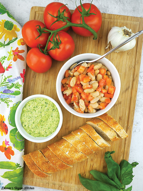 pesto, white beans, tomatoes, and sliced bread