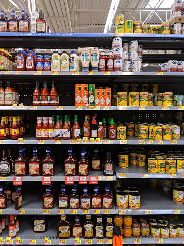 TABASCO® sauces on shelf at Walmart