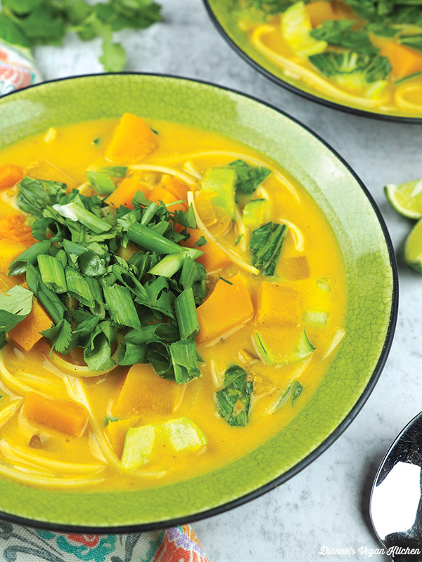 Coconut Curry Noodles and Butternut Squash from One-Dish Vegan close up