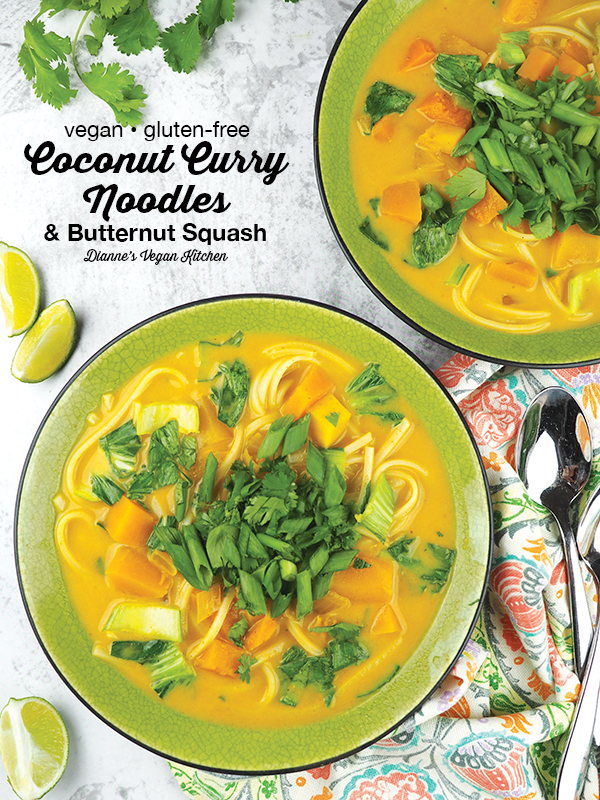 A cozy bowl of Coconut Curry Noodles and Butternut Squash from One-Dish Vegan by Robin Robertson is a great dinner dish for busy weeknights. It's vegan and gluten-free. #vegan #vegandinner #vegancurry #glutenfree #onedishvegan