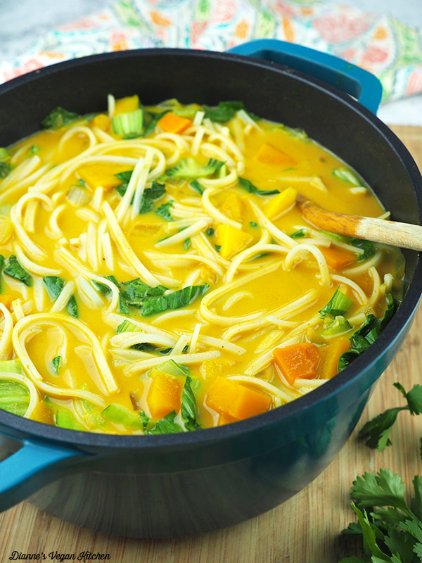 Coconut Curry Noodles and Butternut Squash from One-Dish Vegan in pot