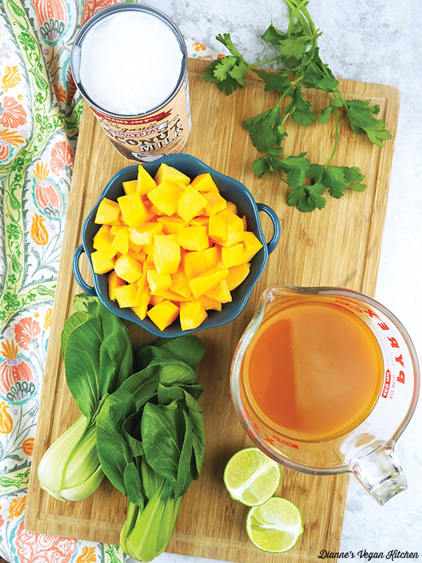 Coconut Curry Noodles and Butternut Squash ingredients