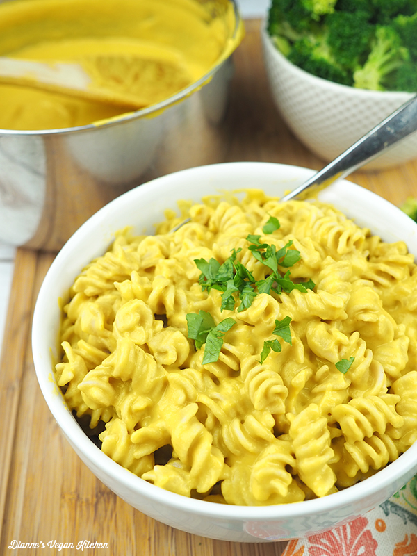 Veggie-Packed Vegan Cheese Sauce on pasta for macaroni and cheese