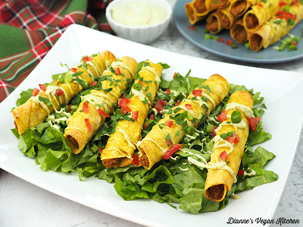 Vegan BBQ Chik'n Taquitos on platter horizontal