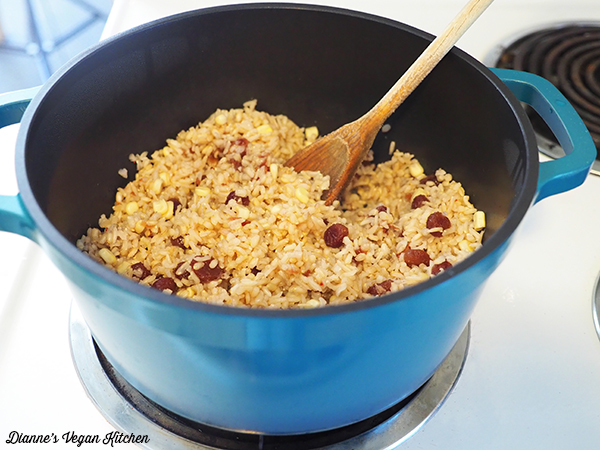 Cooking rice in pot on stovetop
