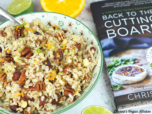 Thanksgiving Rice bowl with Cutting Board by Christina Pirello book
