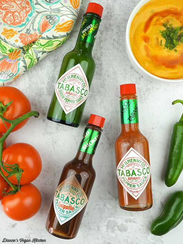 Vegan Queso with different TABASCO® bottles