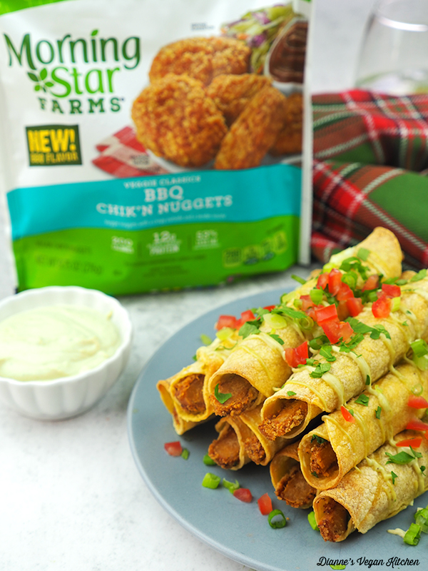 Vegan BBQ Chik'n Taquitos with MorningStar Farms package