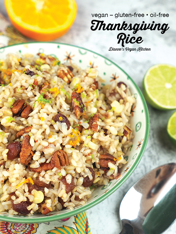 Thanksgiving rice in bowl with text overlay