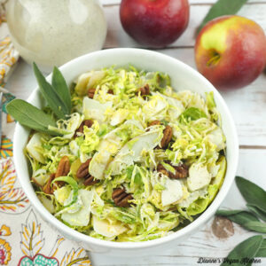 Shaved Brussels Sprout Salad with Maple Mustard Dressing square
