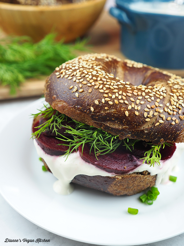 Swedish Bagel with Cream Cheese, Dill, and Beets from The Ultimate Vegan Breakfast Book by Nadine Horn and Jörg Mayer