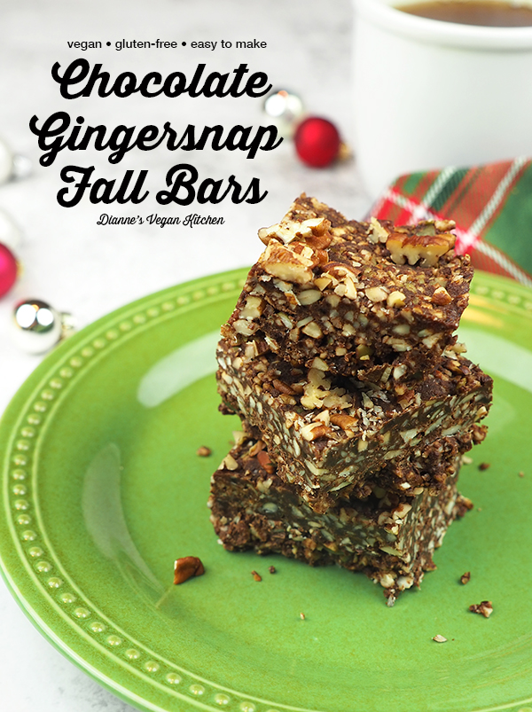 Chocolate-Gingersnap Fall Bars from The Ultimate Vegan Cookbook, stacked with text overlay