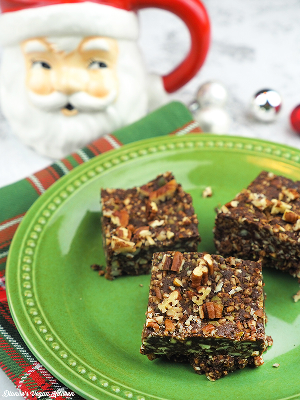 Chocolate-Gingersnap Fall Bars on plate with santa mug