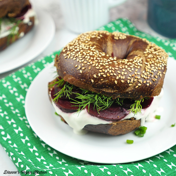 Swedish Bagel with Cream Cheese, Dill, and Beets from The Ultimate Vegan Breakfast Book by Nadine Horn and Jörg Mayer square