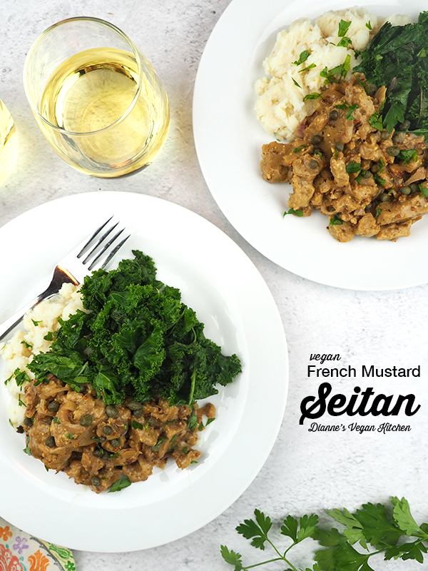 French Mustard Seitan on plates with mashed potatoes and sautéed kale with text overlay