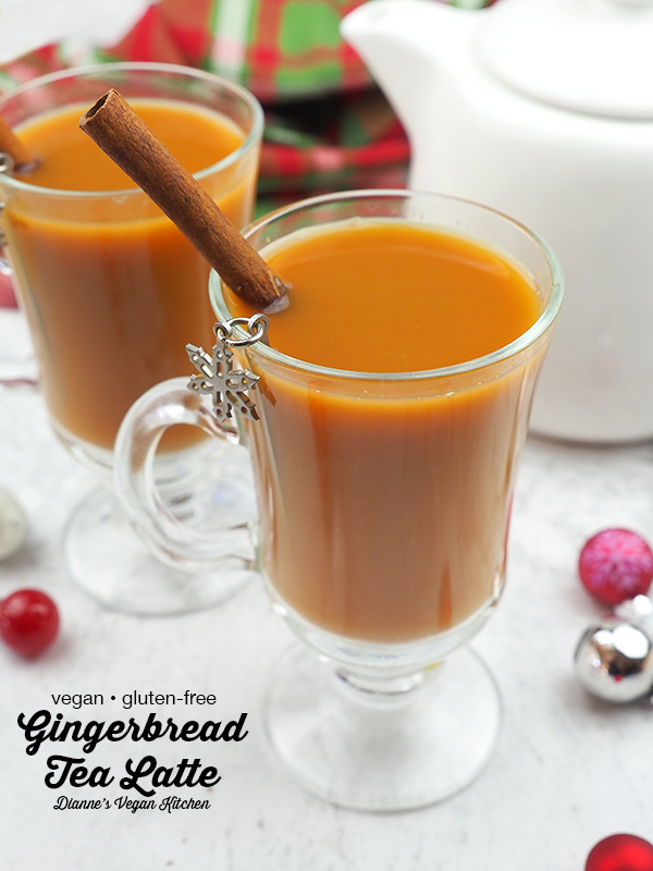 Warm up with a mug of hot non-dairy Gingerbread Tea Latte on a chilly winter's day. It's the perfect drink for the Christmas holiday season. It's vegan and gluten-free.