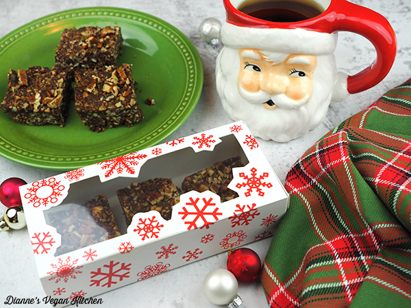 Chocolate-Gingersnap Fall Bars in treat box with santa mug