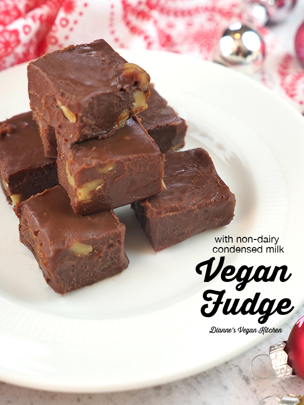 vegan fudge stacked on plate with text overlay