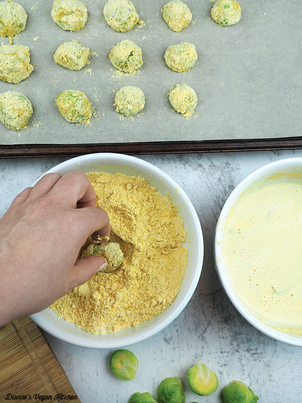 dipping brussels sprouts in cornmeal