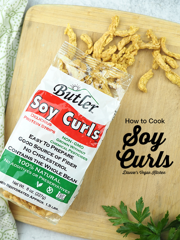 soy curl package on cutting board with text.
