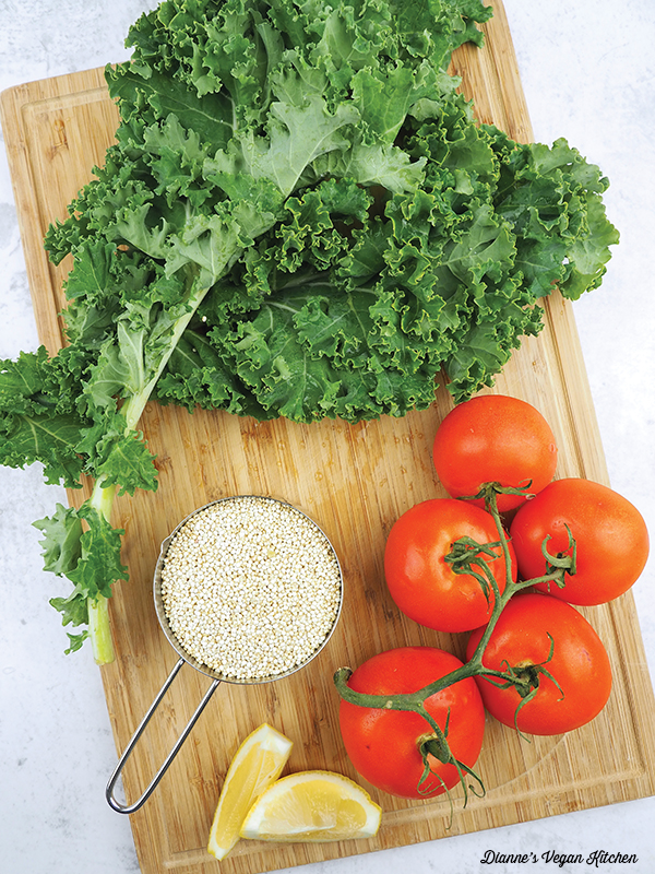Quinoa and Kale Bowl ingredients