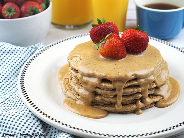 Vegan Multigrain Pancakes with Almond Butter Drizzle horizontal